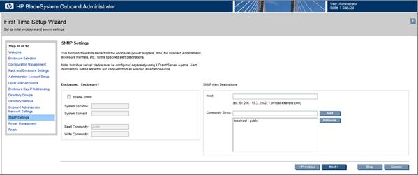 HP BladeSystem 153813 Enclosure SNMP Settings screen