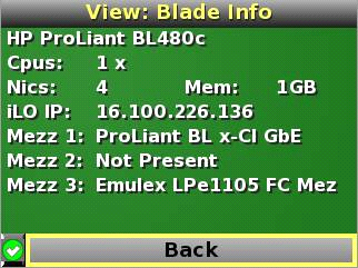 HP BladeSystem 50215 Blade and Port Info screen