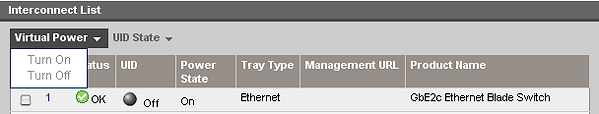 HP BladeSystem 64024 Interconnect Bay Summary screen