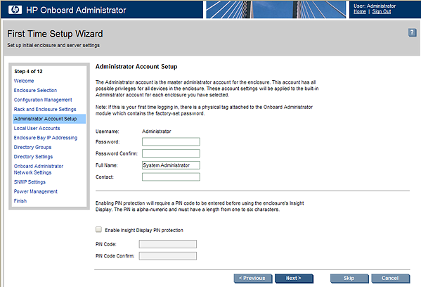 HP BladeSystem 87731 Administrator Account Setup screen