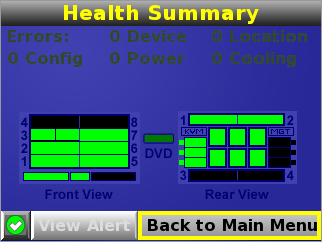 HP BladeSystem 98262 Health Summary screen