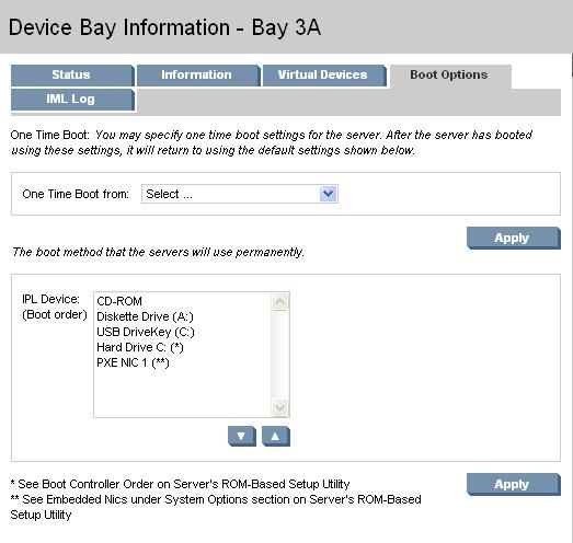 HP BladeSystem 98281 Boot Options tab