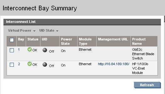 HP BladeSystem 98282 Interconnect Bay Summary screen