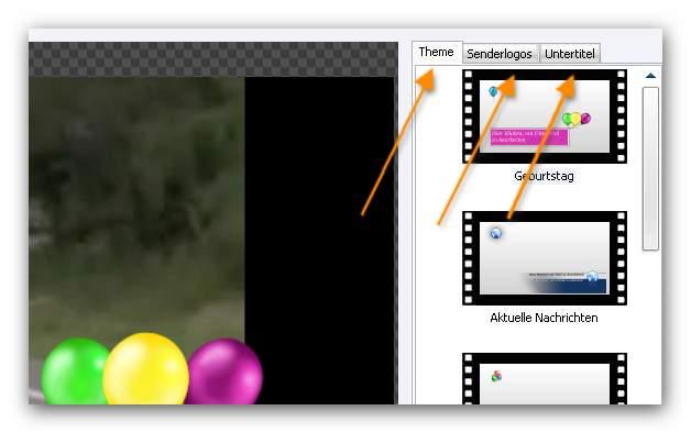 Burning Studio log1 Theme, Senderlogos, Untertitel