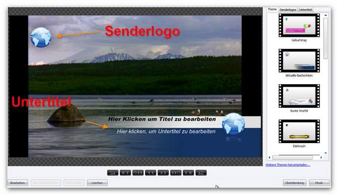 Burning Studio sender.zoom55 Theme, Senderlogos, Untertitel