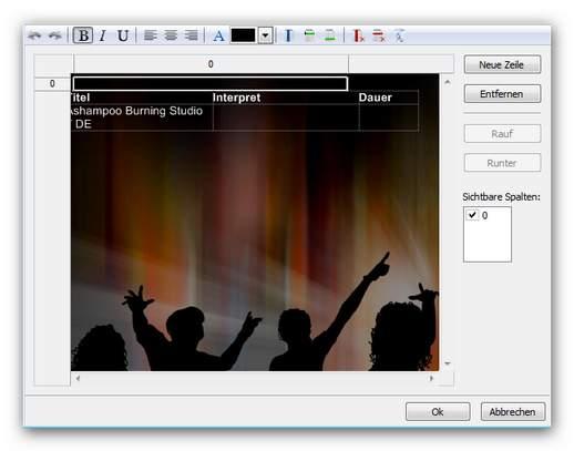 Burning Studio tabelle.zoom80 Neue Tabelle einfügen
