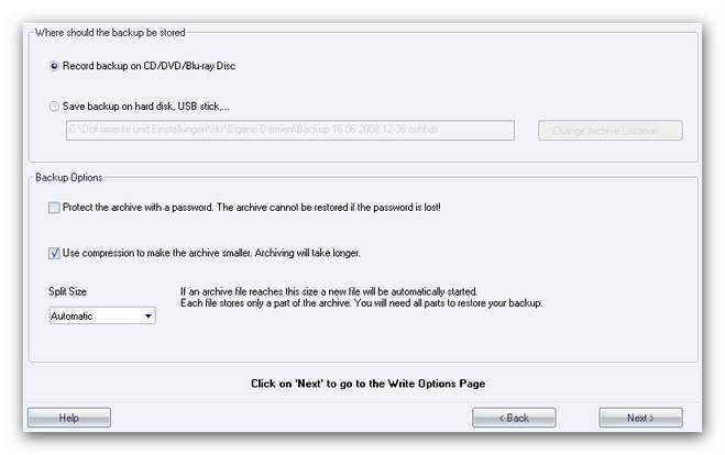 Burning Studio backup main 2.zoom80 Backup Options