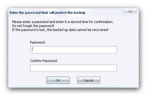 Burning Studio password Backup Options