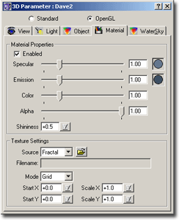 ChaosPro 3d opengl material 3D Parameter Window   Material