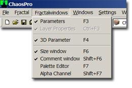 ChaosPro menu fractalwin Fractal Windows Menu