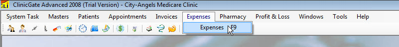 ClinicGate menuexpenses Expenses