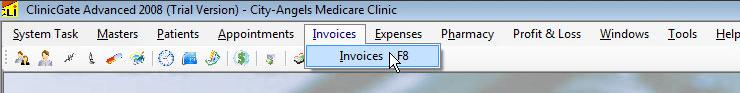 ClinicGate menuinvoice Invoices