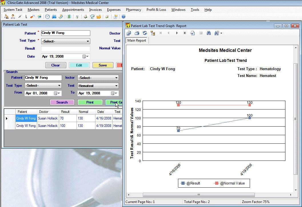 ClinicGate labtestgraphic Patient LabTest