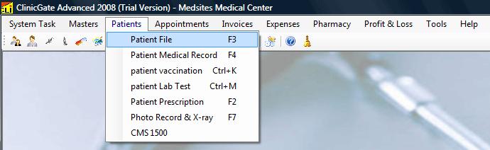 ClinicGate menupatients Patients