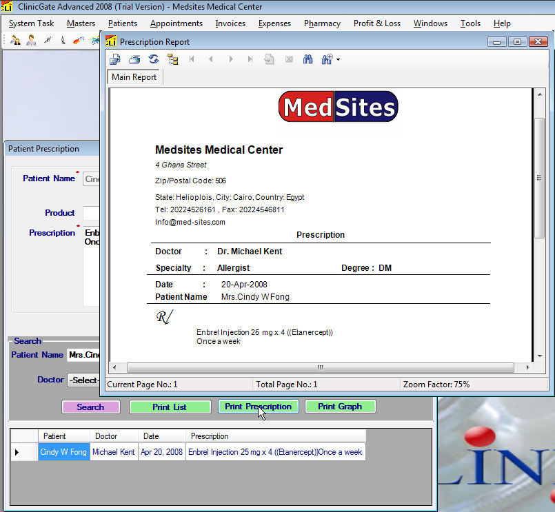 ClinicGate prescriptionprint Patients Prescription