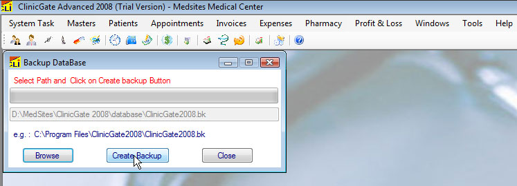 ClinicGate backupdatabase Backup Database (Access)