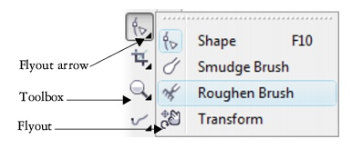 CorelDRAW loc wksp toolbox flyout40 Workspace tools