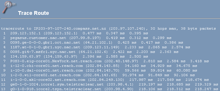 Cpanel traceroute Trace Route
