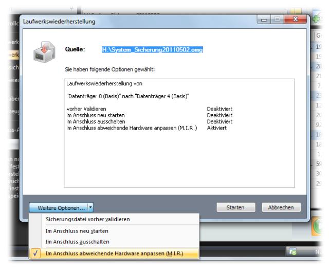 O&O DiskImage oodi6 optionen mir 640x521 Wiederherstellung mit M.I.R. automatisch vornehmen