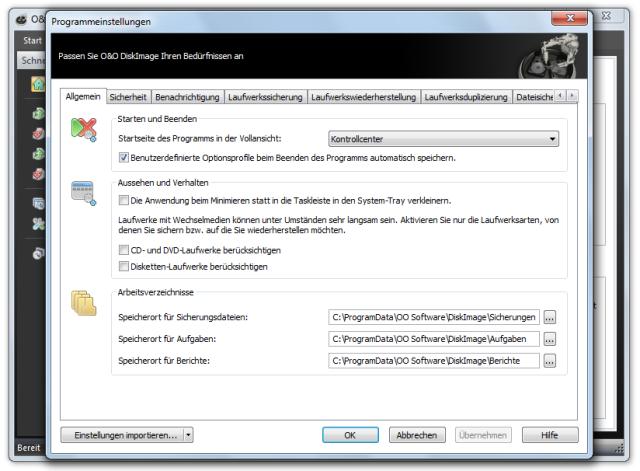 O&O DiskImage oodi6 programmeinstellungen allgemein 640x471 Allgemein   Voreinstellungen ändern