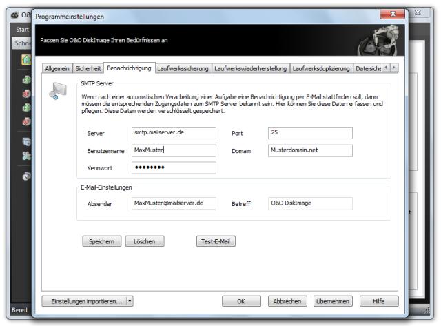 O&O DiskImage oodi6 programmeinstellungen email 640x473 Einstellungen für Benachrichtigungen