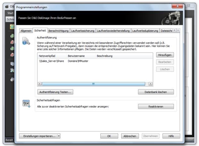 O&O DiskImage oodi6 programmeinstellungen sicherheit 640x468 Sicherheit   Authentifizierung im Netzwerk
