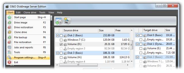 O&O DiskImage oodi6 programmeinstellungen 640x256 Program settings
