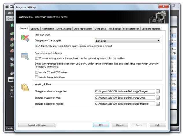 O&O DiskImage oodi6 programmeinstellungen allgemein 640x474 General   Change default settings