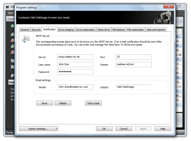 O&O DiskImage oodi6 programmeinstellungen email 640x474 Settings for notification