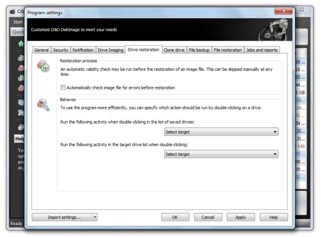 O&O DiskImage oodi6 programmeinstellungen lw wiederherstellung 640x474 Change presets for the drive restoration