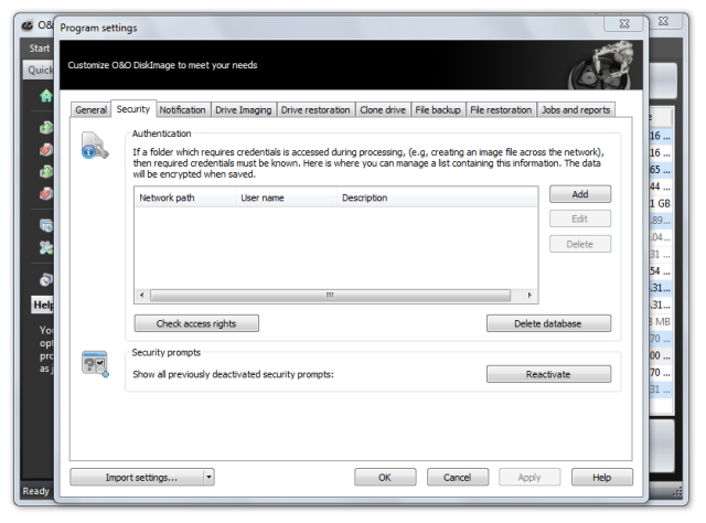 O&O DiskImage oodi6 programmeinstellungen sicherheit 640x474 Security   Network authentication