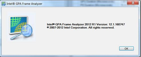 Intel Graphics Performance Analyzers fa about tool Help Menu