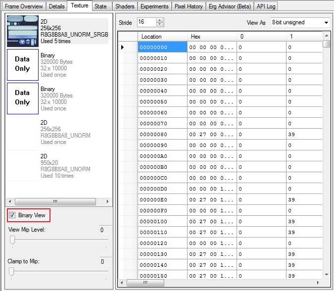 Intel Graphics Performance Analyzers fa example Texture Tab