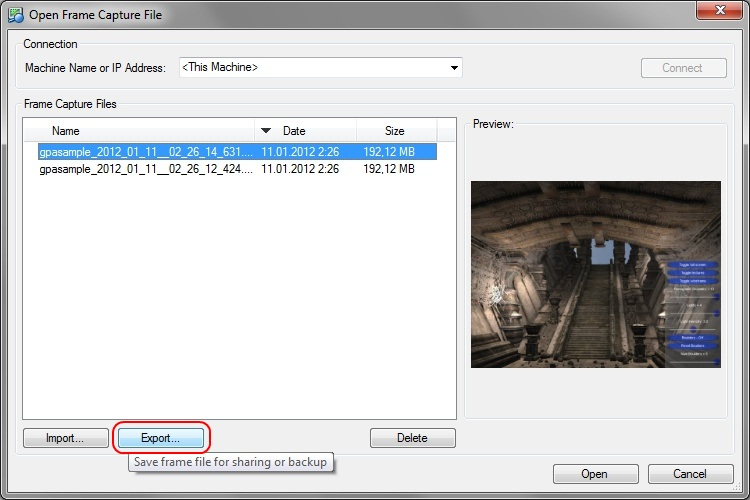 Intel Graphics Performance Analyzers fa export Importing and Exporting Frame Capture Files