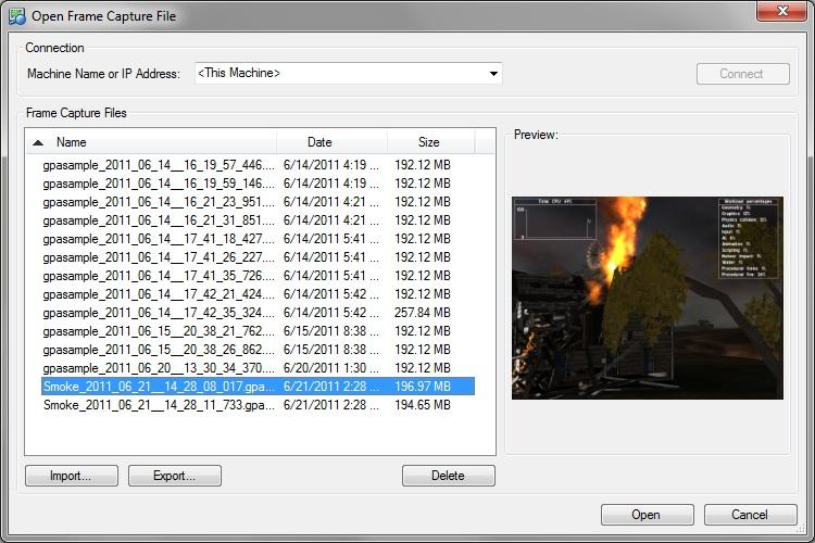 Intel Graphics Performance Analyzers fa file open File Menu