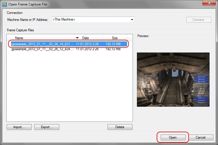 Intel Graphics Performance Analyzers fa open local Loading a Frame Capture File