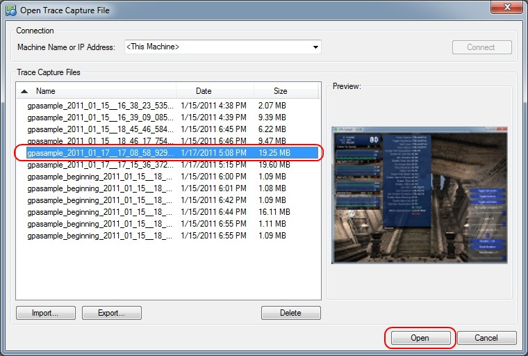 Intel Graphics Performance Analyzers fa open trace capture Loading a Trace Capture File