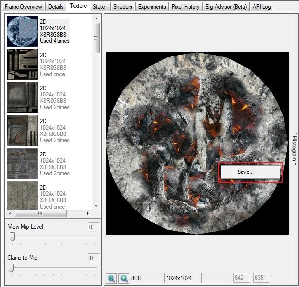 Intel Graphics Performance Analyzers fa texture save Saving the Texture Image