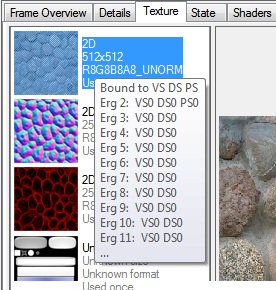 Intel Graphics Performance Analyzers fa texture tooltip Texture Tab