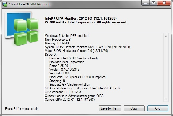 Intel Graphics Performance Analyzers m about Viewing the Intel® GPA Monitor System Information