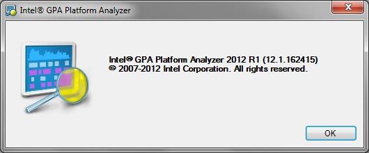 Intel Graphics Performance Analyzers pa about Help Menu