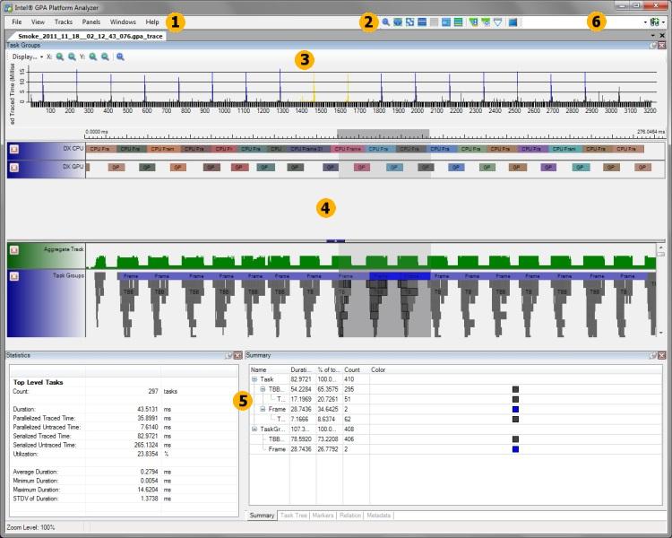 Intel Graphics Performance Analyzers pa gui init GUI Layout
