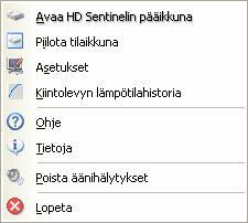 Hard Disc Sentinel img 06 quickmenu Pikavalikko