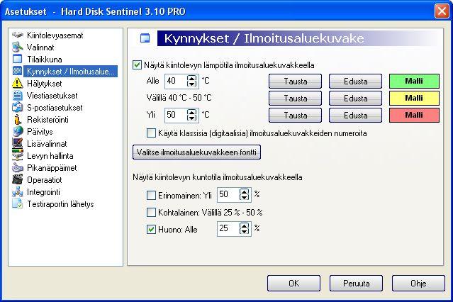 Hard Disc Sentinel img 16 c tti Kynnykset/ ilmaisinaluekuvake