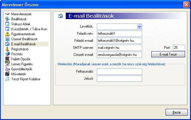 Hard Disc Sentinel img 20 c email E mail beállítások