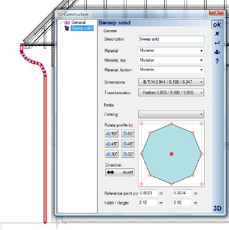 Home Designer image11 574 Contour / Path , Example for a Drainpipe