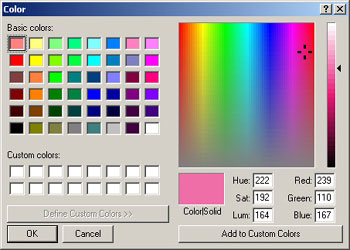 iClone colorpallete Show Grid and Select Color