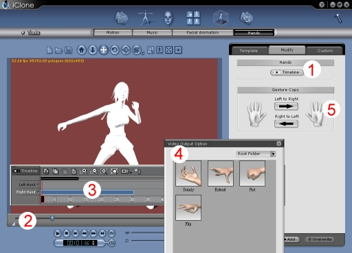 iClone edit hand Using Timeline Editor to Animate Hands