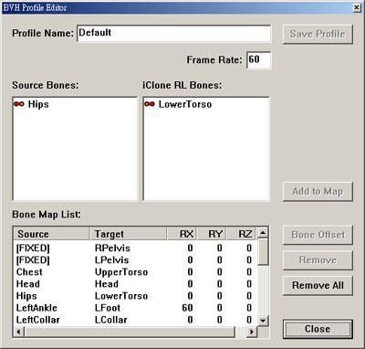 iClone profileeditor01 Using BVH Motion Converter