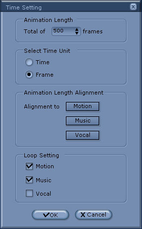 iClone time setting panel Animation Timeline Editing